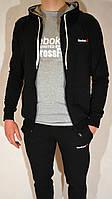 Мужской спортивный костюм Reebok с капюшоном (размеры: S,M,L,XL,2XL) - черный