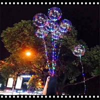 Светящийся светодиодный воздушный шар с воздушным шариком Светлые круглые пузыри Гелиевые шары Дети Игрушка Свадебная вечеринка Рождественская елка