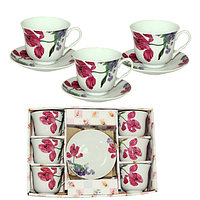 533-50 Сервиз чайный 12пр Ирис (чашка-280мл, блюдце-14см)