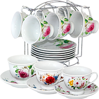 021-12-01 Сервиз чайный 12пр. на металической стойке цветы микс1 (чашка-180мл, блюдце-14см)