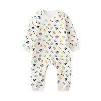 Baby Bodysuits Смазливая мультфильм Цветочный теплый стеганый O Шея с длинным рукавом Comfy Romper 90