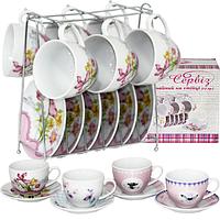 1460 Сервиз чайный 12пр. на стойке 'Цветы' микс4 (200мл,d13,5см)