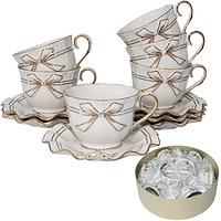 022-12-01 Набор чайный 12пр. Белый бант (чашка-240мл, блюдце-14см)