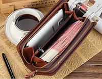 Вместительный мужской кошелек-барсетка из кожи Baellerry