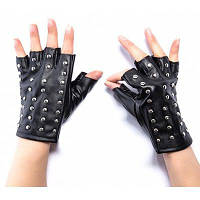 Женщины PU кожаные перчатки с перчатками с заклепкой Чёрный