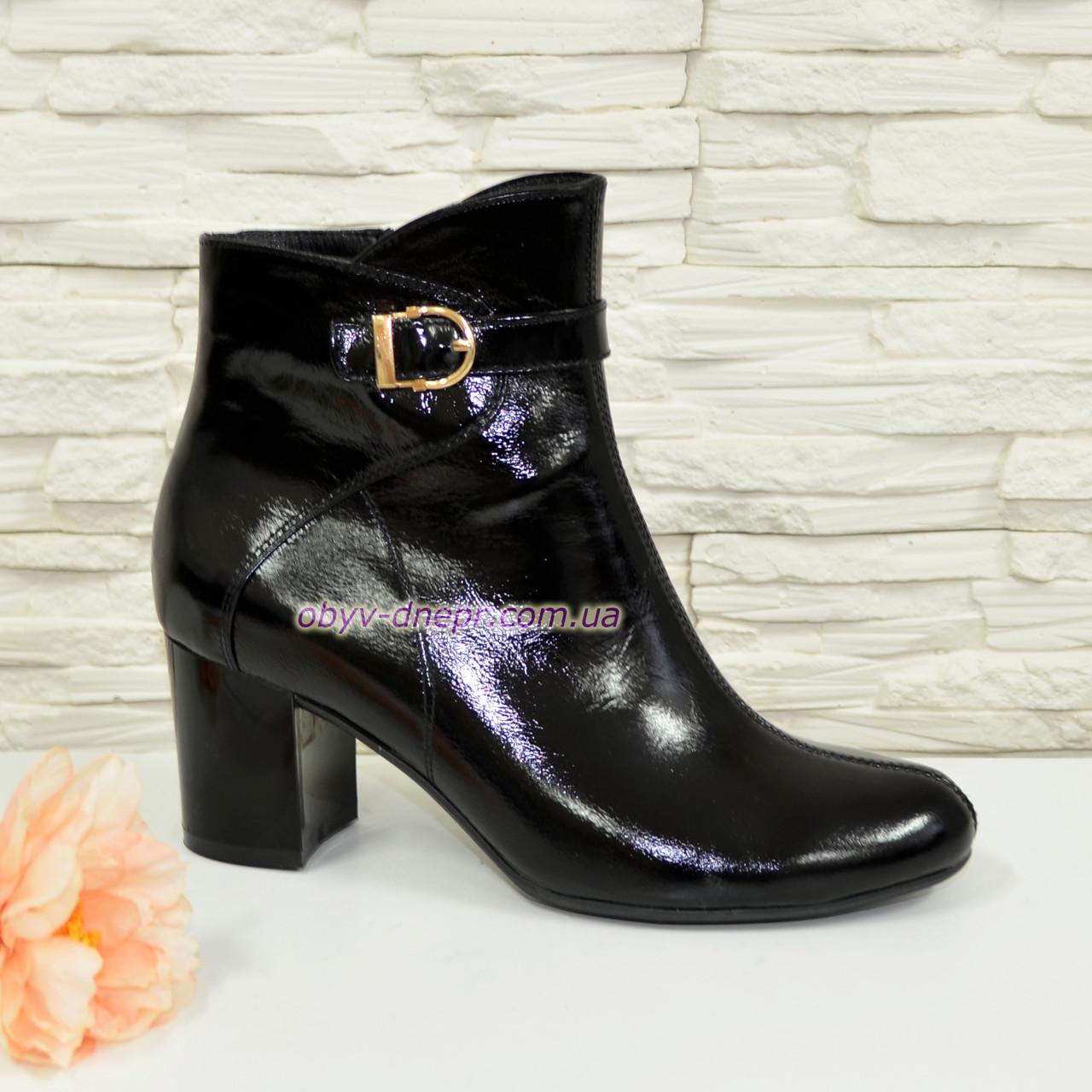 Ботинки женские черные на невысоком каблуке. Натуральная лаковая кожа.