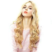 Золотой желтый женщин моды парик волос большой блондинка волнистый парик среднего расставания волос стиль 20u0434u044eu0439u043cu043eu0432