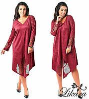 Стильное женское платье батал, спереди с разрезом Код:397395484