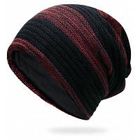 Наружный полосатый узор Цвет Вязание крючком Вязаная шапочка Глубокий красный
