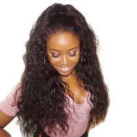 Пушистая кудрявая свободная часть Длинные синтетические парики шнурка волос 26дюймов