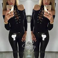 Новиночка!!!Женский свитер кофточка с шнуровкой и открытыми плечами 42-46 чёрная , фото 1