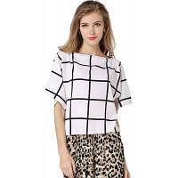 Летняя женская блузка проверенная рубашка печати Brand New повседневная шифон блузка женщин Элегантная дама Офис рубашки XL