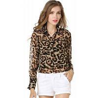 Женщины Блузки Мода вскользь шифон блузка рубашка Loose Sheer рубашка с длинным рукавом один размер