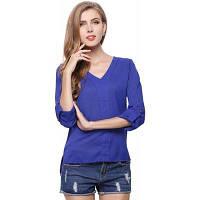 Мода женщин летних V шеи шифон блузка рубашка Прекрасная повседневная рубашка с длинным рукавом XL