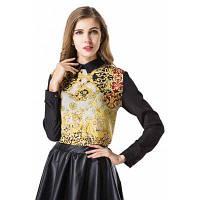 Мода печатных женщин бренда Тонкий шифон блузка рубашка с длинным рукавом повседневная рубашка Топ XL
