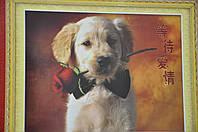 """Набір для вишивки хрестом """"Собачка з трояндою"""" 3D"""