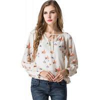 Блузка женская рубашка Топ с длинными рукавами женщин шифон блузка рубашка повседневная одежда Леди цветок печатных блузок XL