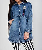 Модная удлиненная джинсовая куртка