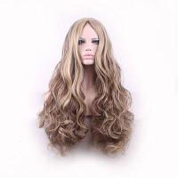 Длинные Ombre коричневый ясень блондинкой высокой плотности температуры синтетический парик для черных белых женщин безвкусный волнистый косплей волос