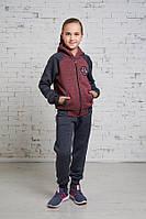 Детский двухцветный спортивный костюм для девочки подросток с капюшоном Код:404332155