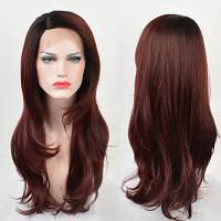 Длинный боковое разделение Ombre Слоистый прямой шнурок спереди Синтетический парик градиентный цвет от черного к вино-красному
