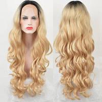 Длинный центр пролома Ombre Loose Wave Lace Front Synthetic Wig градиентный цвет от черного к золотому