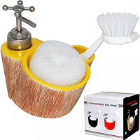 888-067 Диспенсер для мыла с губкой и щеткой Кора 330мл 14*11*9см