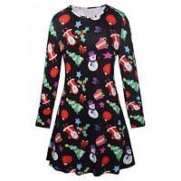 Модное платье для девочек с Санта-Клаусом XL