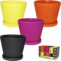 90510 Горшок 12 * 12 * 10 см, 4 цв. (0,7л) Микс Цветное плетение
