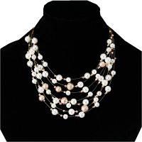 Женщины Мода Ювелирные изделия Многослойные Цепь Имитация Жемчужины Ожерелья Свадебная невеста Чокер