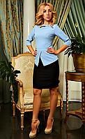 """Деловое женское платье """" Лиза """"  голубого цвета в большом размере"""