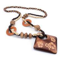 Женская деревянная группа Plum Blossom Long Sweater Chain Pendant Necklace Fashion Jewelry загар
