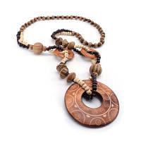 Женщины ручной резной полые круглый деревянный бусины подвеска ожерелье моды подарок подарок подарок загар