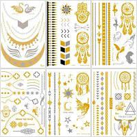 Ювелирные изделия Вдохновленные металлической хной Водонепроницаемые временные татуировки наклейки из золота и серебра 6-листы разные цвета