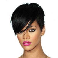 Модные женские аксессуары для волос Синтетические черные короткие прямые парики черный