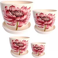 647-006 Набор цветочных горшков Розовый пион (4шт) 19*15,5 см (3л), 15*13 см(1,5л), 12,5*10,5 см(0,85л) 9,5*8см (0,3л)