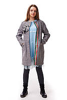 Элегантное подростковое пальто для девочки с оригинальным декором в стиле Шанель, светло-серого цвета