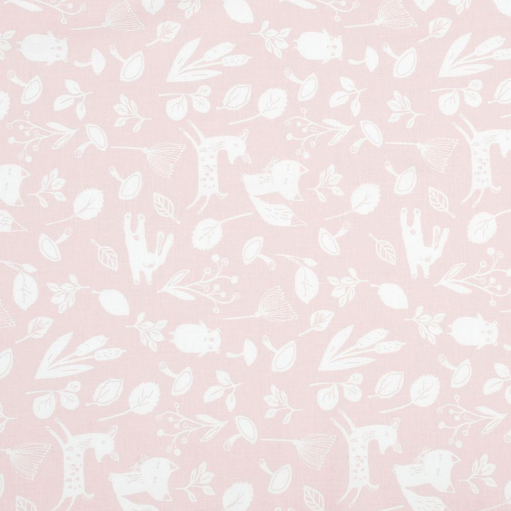 Хлопковая ткань премиум класса лесные зверята на пудрово-розовом фоне №1-663