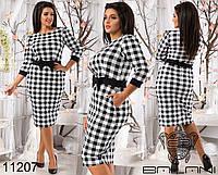 Облегающее женское платье с принтом, декорировано контрастным поясом и бантом на талии. Код:410226592