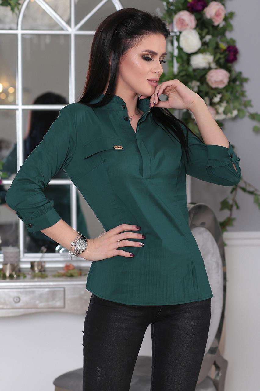 Рубашка деловой стиль зеленая
