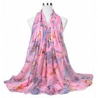 Леди Очаровательный цветочный шаблон Мягкий легкий шарф Wrap Розовый