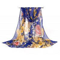 Женщины Pretty Roses Печать Легкий шифонный шарф Военно-морской флот