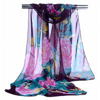 Женщины Красочный Пион Печатный Мягкий Легкий Шифон Шарф Фиолетовый