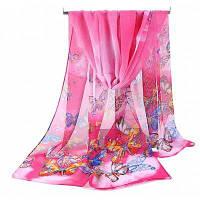 Женская бабочка печати Мягкий легкий шифон шарф шаль розово-красный