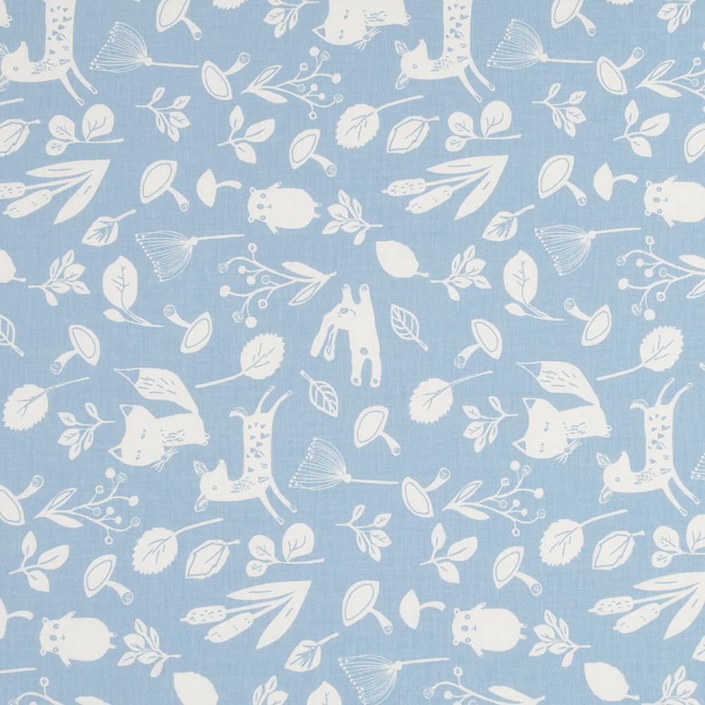 Хлопковая ткань премиум класса лесные зверята на светло-джинсовом фоне №3-663