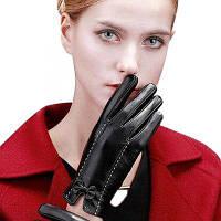Женщины PU кожаные теплые перчатки с бабочкой Узел украшения Чёрный