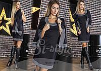 Женский костюм двойка: платье и пиджак с принтом Код:413553437