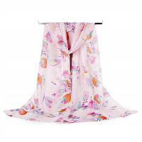Женщины Пастырские цветы Версия для печати Мягкий легкий шифон Шарф Розовый