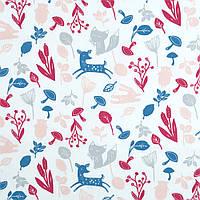 Хлопковая ткань премиум класса разноцветные лесные зверята на белом фоне №5-663