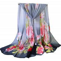 Женская цветочная печать Легкий шифонный шарф Чёрный